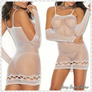 🆕👰 White Lingerie Mini Dress & Matching Gloves